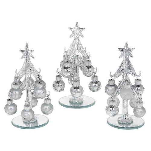Small Silver Glass Christmas Trees with Silver Decorated Baubles